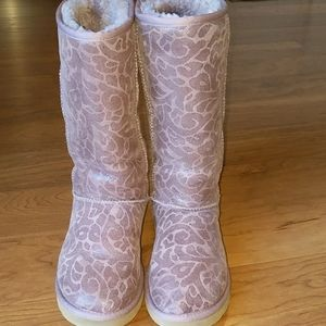 UGG PINK LEATHER/SHEEPSKIN LADIES SIZE 7 BOOTS